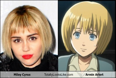 totally looks like,miley cyrus,armin arlert