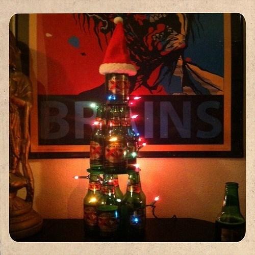 beer christmas tree funny bottles - 7945654272