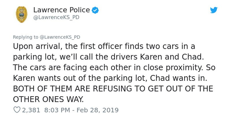 standoff twitter story twitter wtf parking lot adult drivers petty story entitled funny tweets Story Time karen police - 7946245