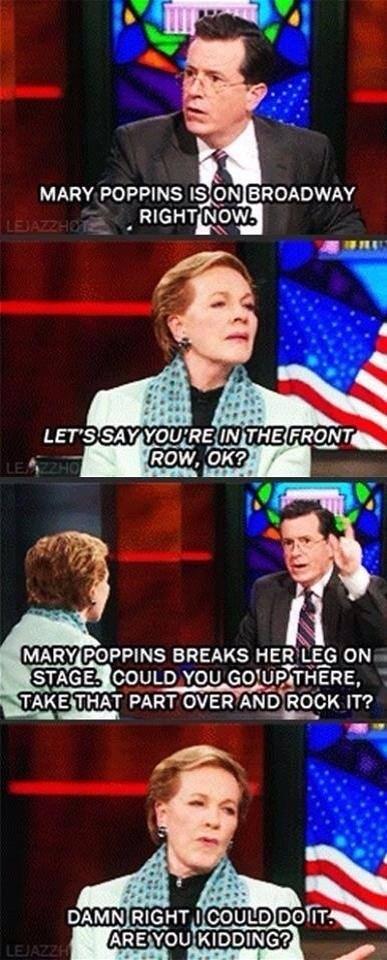 Julie Andrews mary poppins stephen colbert - 7946292736