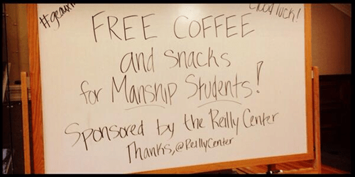 Font - FREE COFFEE and snachs f Marshp Stutents! Sporsored by te Rally Cter (he JhanksePalyner