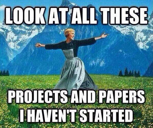Photo caption - LOOKATALL THESE PROJECTS AND PAPERS IHAVENT STARTED
