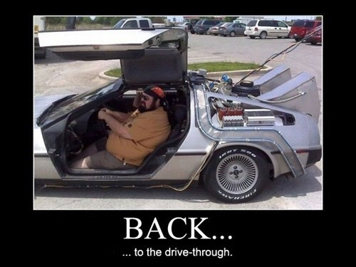 back to the future,drive thru,DeLorean,funny