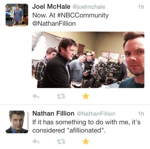 community,joel mchale,nathan fillion,word play,celebrity twitter