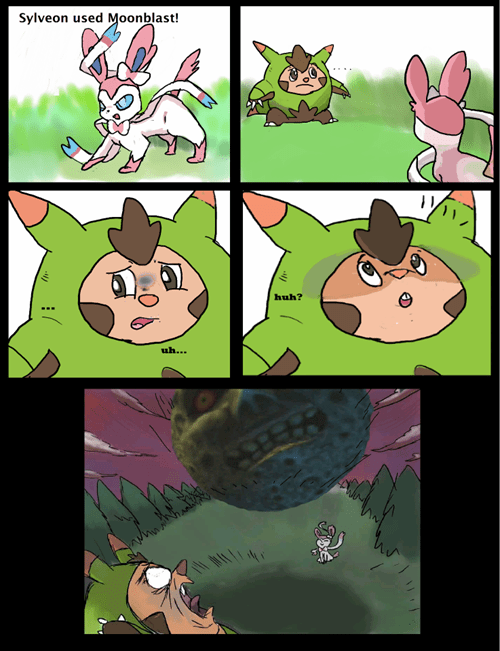 majoras mask,zelda,web comics,sylveon,moonblast
