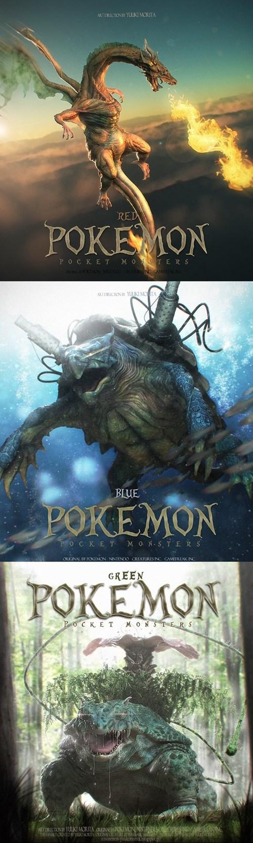 Pokémon Fan Art blastoise charizard venusaur - 7948314368
