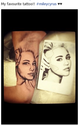 bad miley cyrus portraits tattoos - 7948677888