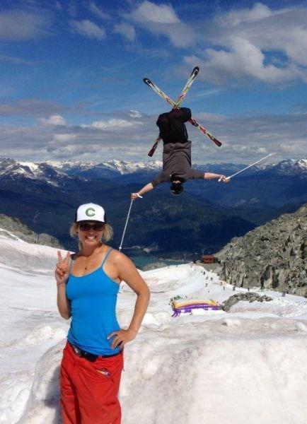 skiing photobomb