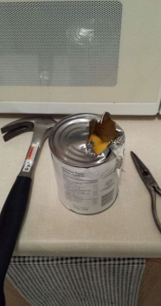 canned food,tools,there I fixed it