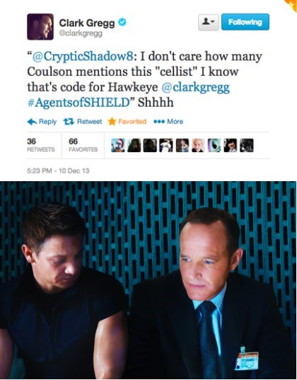 agent coulson,hawkeye,celebrity twitter,clark gregg,agents of shield,avengers