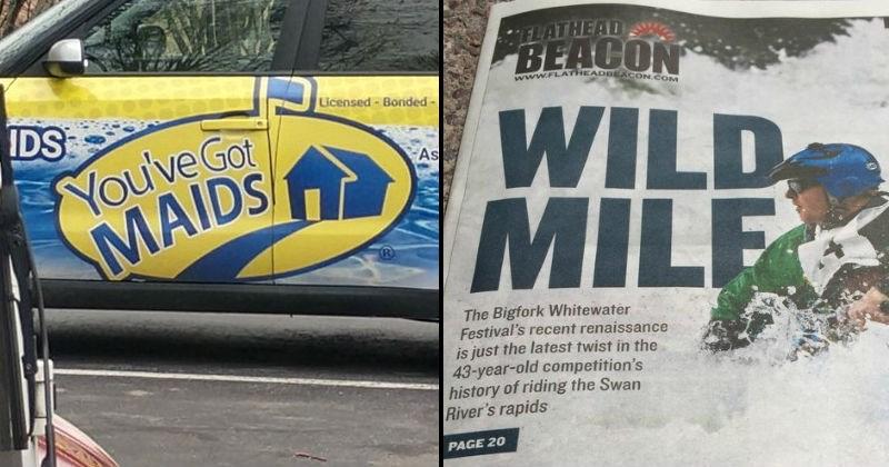 design fails, headline that reads wild milf instead of wild mile