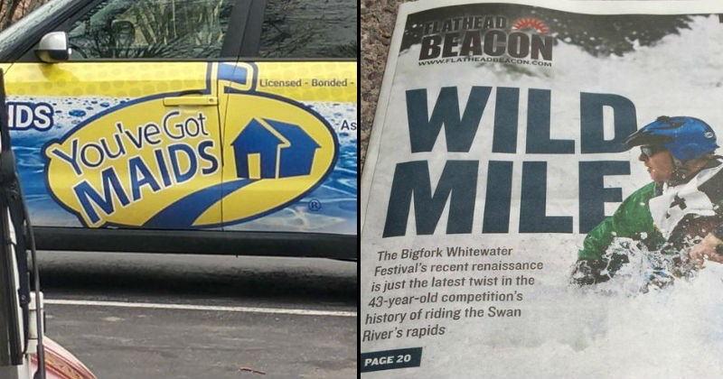 design fails, headline that reads wild milf instead of wild mile