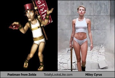 postman,totally looks like,miley cyrus,zelda