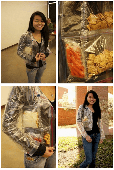 fashion,jacket,DIY,ziplock bags,poorly dressed,g rated