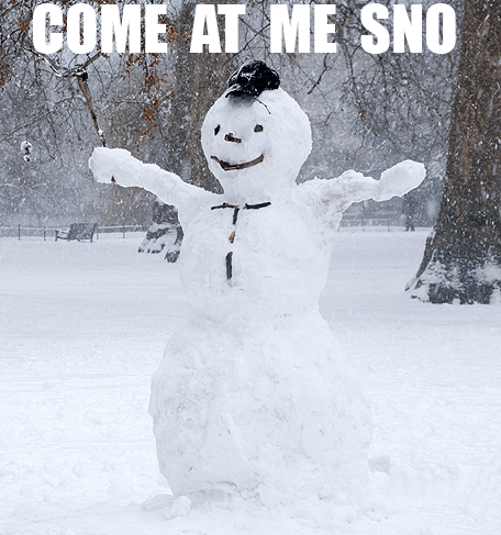 come at me bro snow snowmen winter
