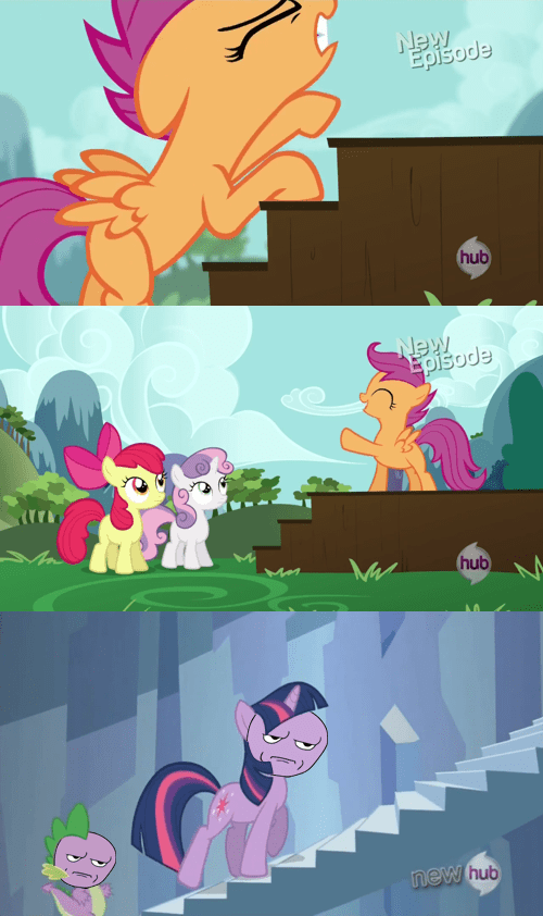 twilight sparkle,stairs,nerd,Scootaloo