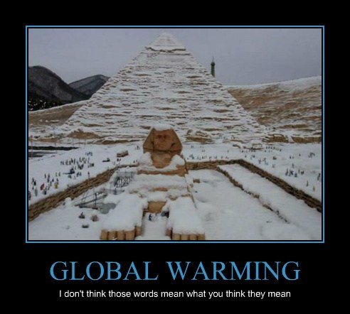 global warming meme showing snow by the pyramids of Giza and the Sphinx