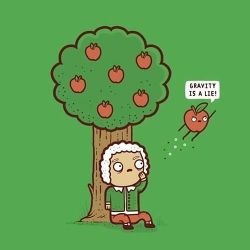 isaac newton Gravity apple funny - 7957231104