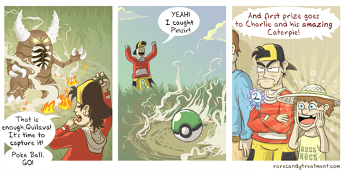 caterpie Pokémon web comics bug catching contest