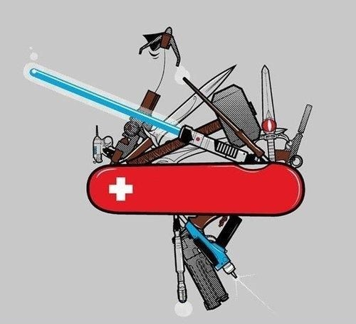 fantasy scifi swiss army knife weapons