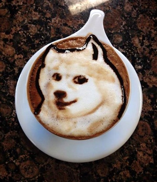 art coffee chocolate delicious funny foam doge - 7958603776