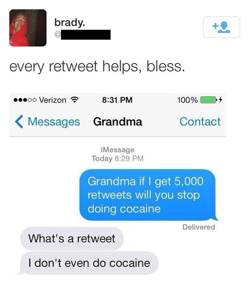 grandma,texting,retweets