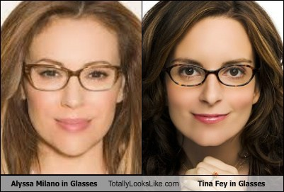 tina fey,glasses,totally looks like,alyssa milano