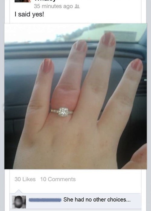 Finger - 35 minutes ago I said yes! 30 Likes 10 Comments She had no other choices...