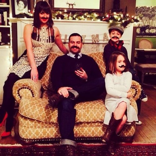 christmas kids parenting family photos mustaches - 7960038656