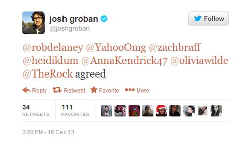 Text - josh groban @joshgroban Follow @robdelaney @YahooOmg@zachbraff @heidiklum @AnnaKendrick47 @oliviawilde @The Rock agreed Reply RetweetFavorite More 34 111 RETWEETS FAVORITES 3:20 PM-16 Dec 13
