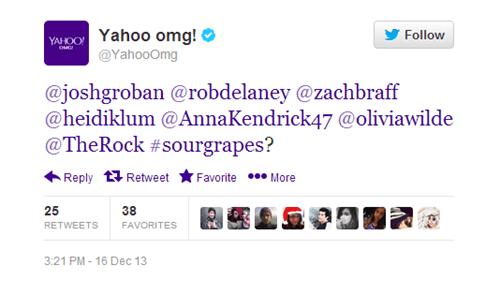 Text - Yahoo omg! @YahooOmg Follow YAHOO @joshgroban @robdelaney @zachbraff @heidiklum @AnnaKendrick47 @oliviawilde @TheRock #sourgrapes? 'Favorite More Reply Retweet 25 38 RETWEETS FAVORITES 3:21 PM-16 Dec 13