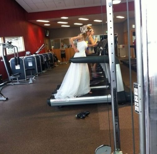 fashion puns treadmill running wedding dress