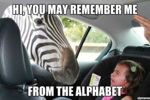 alphabet Babies crying scared zebras