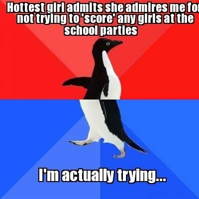 flirting,socially awesome penguin,socially awkward penguin,whoops