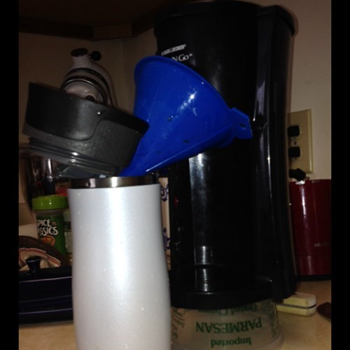 funnels,there I fixed it,coffee makers,plastic tubs