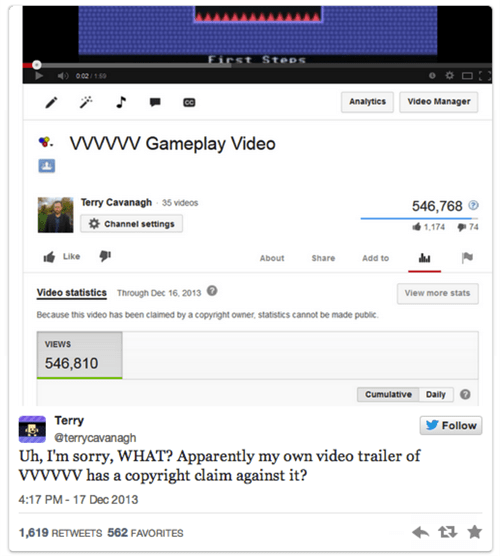 youtube,VVVVVV,terry cavanagh,content claims