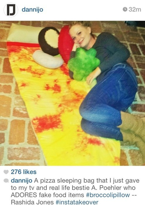 Amy Poehler sleeping bag pizza - 7962142464