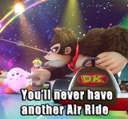 donkey kong,kirby,Sad,air ride