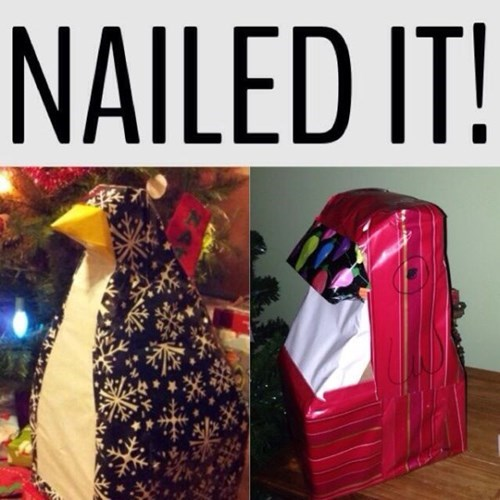 christmas penguins there I fixed it Nailed It gift wrap