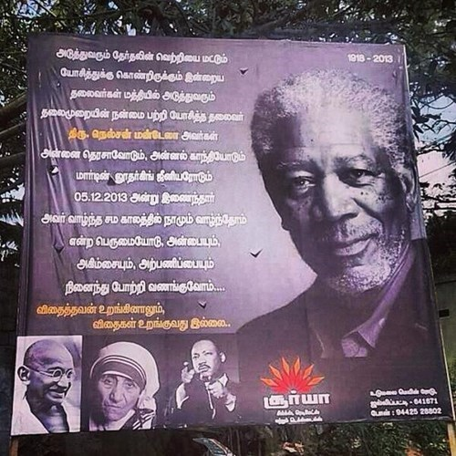 Morgan Freeman whoops nelson mandela sign - 7963477248
