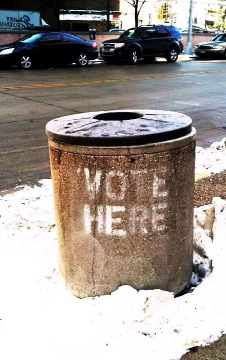 garbage,voting,vote here