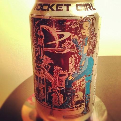 beer can design funny rocket girl - 7963675136