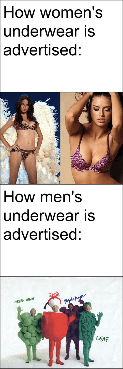 men,double standards,men vs women,women,underwear