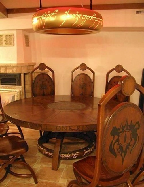 living room home interior design dining room dining table chairs one ring inscription elvish language tolkien lord of the rings inspired sauron eye wood wooden furniture lamp the hobbit