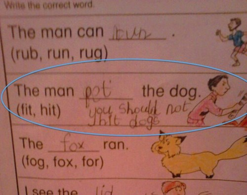 Text - Write the correct word The man can h (rub, run, rug) The man the dog. L4o4 shoud not (fit, hit) The fox ran. (fog, fox, for) lid see the
