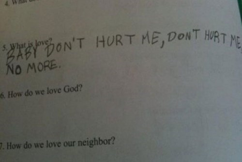 Text - $2s.cic. NO MORE HURT ME, DONT HIRTME 5.What is love? 6. How do we love God? 7.How do we love our neighbor?