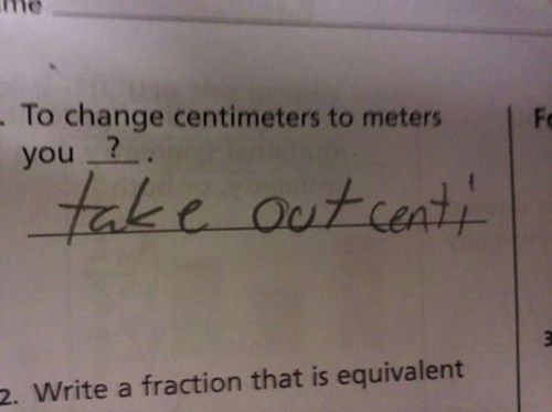 Text - . To change centimeters to meters you ? Fo tak e outcent! 2. Write a fraction that is equivalent