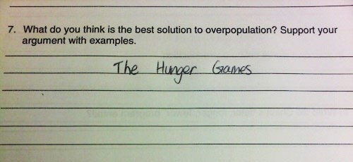 Text - 7. What do you think is the best solution to overpopulation? Support your argument with examples. The Hunger Games