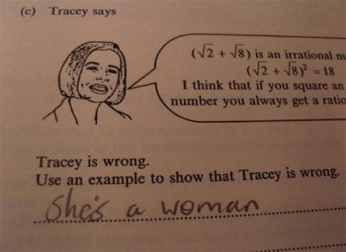 Text - (c) Tracey says (/2+18) is an irrational nu (2+8 -18 I think that if you square an number you always get a ratio Tracey is wrong. Use an example to show that Tracey is wrong. She's a Woman