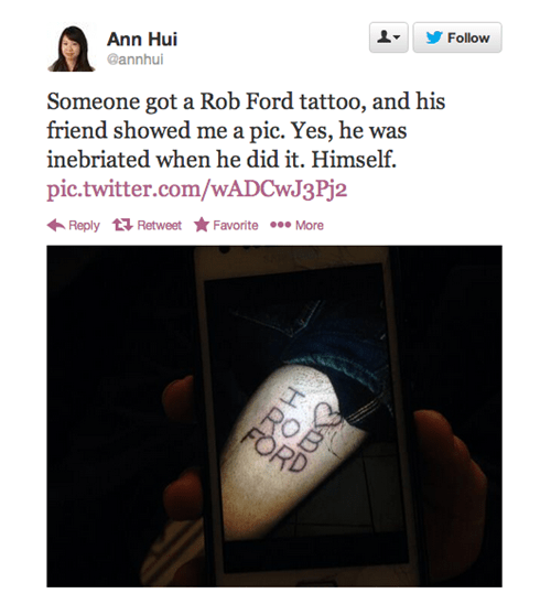 amazing,Canada,rob ford,tattoos